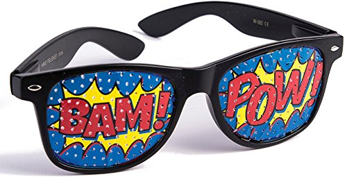 Forum Novelties Bristol Novelty 76697 Pop Art Pow Screened Sunglasses, One Size -