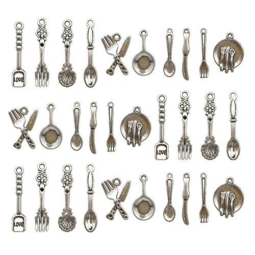 100pcs Craft Supplies Fork Knife Spoon Tableware Charms Pendants for Crafting, Jewelry Findings Making Accessory For DIY Necklace Bracelet M12 (Tableware charms)