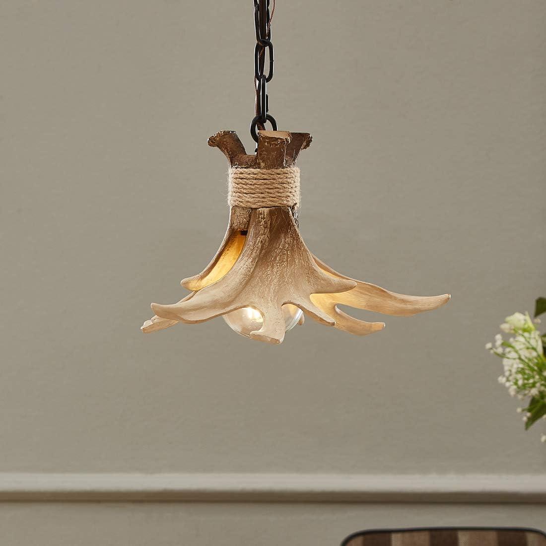 Mini Antler Pendant Light for Kitchen Island Dining Room Bathroom,1-Light Small Faux Resin Anter Decor Chandelier Ceiling Lamp,Brown BN-1016
