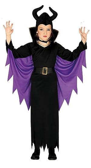 Guirca 87719 - Disfraz de Reina Maléfica para niña de 7/9 años, Negro y Morado, de 7 a 9