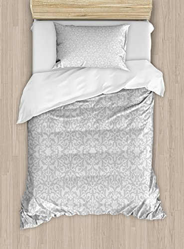 Grey Duvet Cover Set by Ambesonne, Antique Floral Motifs Arabian Islamic Art Patterns in Mod Graphic Design Oriental Boho Deco, 2 Piece Bedding Set with 1 Pillow Sham, Twin / Twin XL Size, Gray by Ambesonne