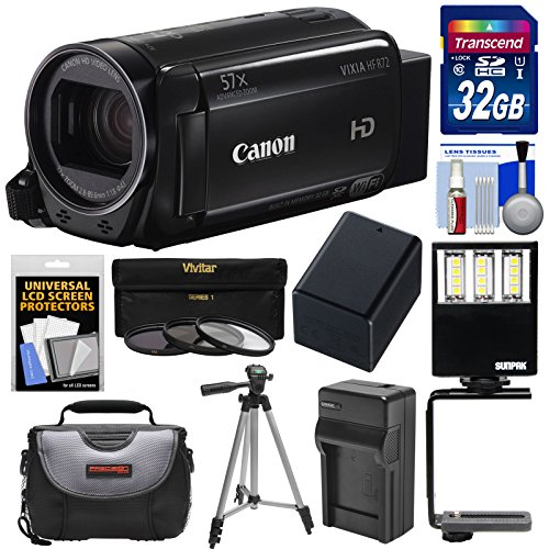 Canon Vixia HF R72 32GB Wi-Fi 1080p HD Video Camcorder with 32GB Card + Battery & Charger + Case + Tripod + 3 Filters + LED Light + Kit by Canon