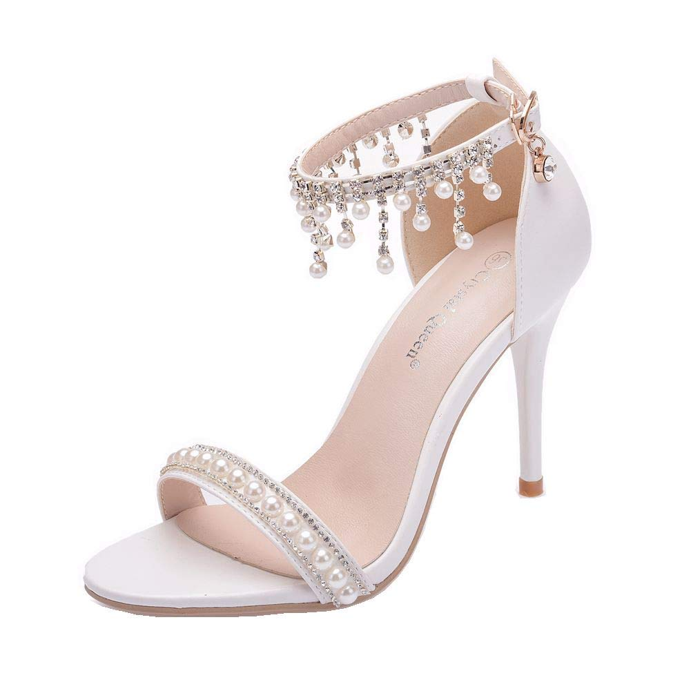 71e05553279 Women High Heels Sandals White Lace Pearls Wedding Shoes Pointed Toe Bridal  Shoes