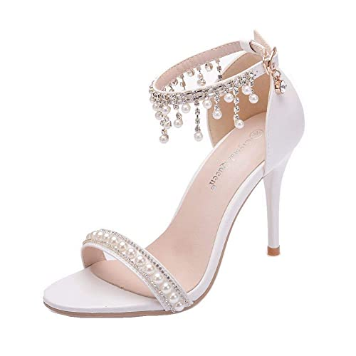 0f641fe6e7d Women High Heels Sandals White Lace Pearls Wedding Shoes Pointed Toe Bridal  Shoes
