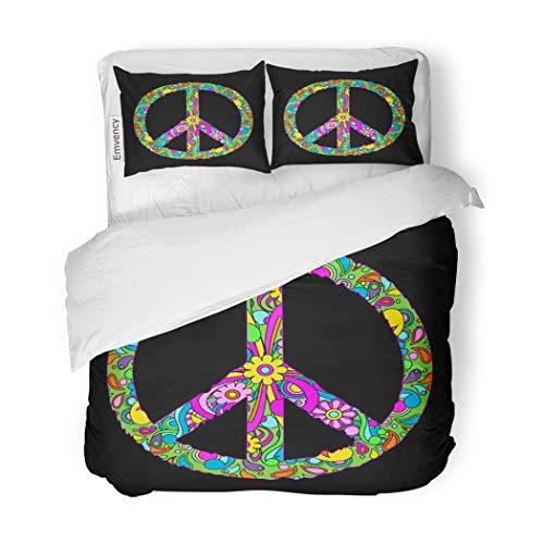 SanChic Duvet Cover Set Colorful Hippy Groovy Retro Peace Sign Flower Power Decorative Bedding Set with Pillow Case Twin Size