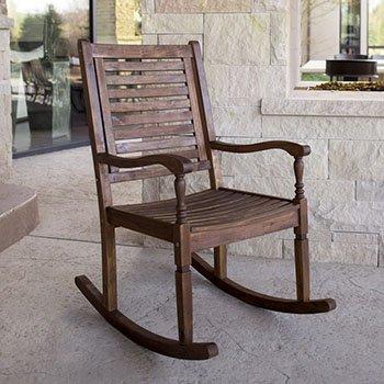 Acacia Wood Patio Rocking Chair in Dark Brown