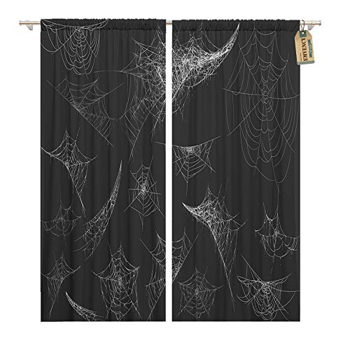 Emvency Window Curtains 2 Panels Rod Pocket Drapes Satin Polyester Blend Collection Cobweb Spiderweb Halloween Spider Spooky Scary Horror Living Bedroom Drapes Set 104 x 96 Inches for $<!--$69.90-->