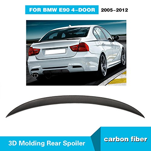MCARCAR KIT For 2005-2012 BMW 3 Series Sedan E90 325I 328I 330I 335I M3 M Sport Factory CNC Moudling Carbon Fiber Top Fit Rear Trunk Spoiler Tail Wing (Performance Look Carbon Rear Spoiler) (Carbon 330i Fiber)