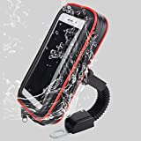 Cell Phone Holder,SUNSEATON  Motorcycle Handlebar Phone Mount for IOS android GPS and Other Devices with 3.5-6.0 Inches,Waterproof and Shockproof Pad with Headphone Jack,360 Degrees Rotatable, Red-XL