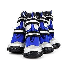"Large Big Dog Sport Shoes Winter Waterproof Pet dog Puppy Martin Boots Non-slip Outdoor Pitbull Golden Retriever Dog Rain Snow Shoes (9(length 2.83""wide 2.56""), Blue)"