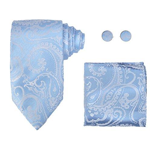 Y&G H6094 Blue Paisley Perfection Goods Silk Ties Cufflinks Hanky Husband Gift Set ()