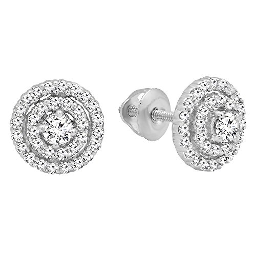 0.41 Carat (ctw) 10K White Gold Round Cut White Diamond Ladies Halo Style Stud Earrings by DazzlingRock Collection