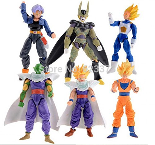 6pcs/lot 16cm Dragon Ball Goku Vegeta Piccolo Gohan super saiyan Joint Movable dragon ball z action figures Toy (Vegeta Costume For Kids)