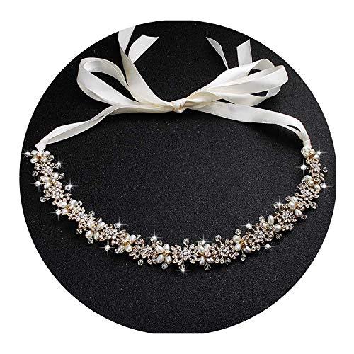 Clear Crystal Bridal Hair Vine Pearls Wedding Hair Jewelry Accessories Headpiece Women Crowns,Gold -