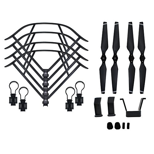 BTG Part Kit for DJI Mavic Pro RC Drone: Propellers + Quick Release Propeller Guards + Landing Gear (Grey) by BTG