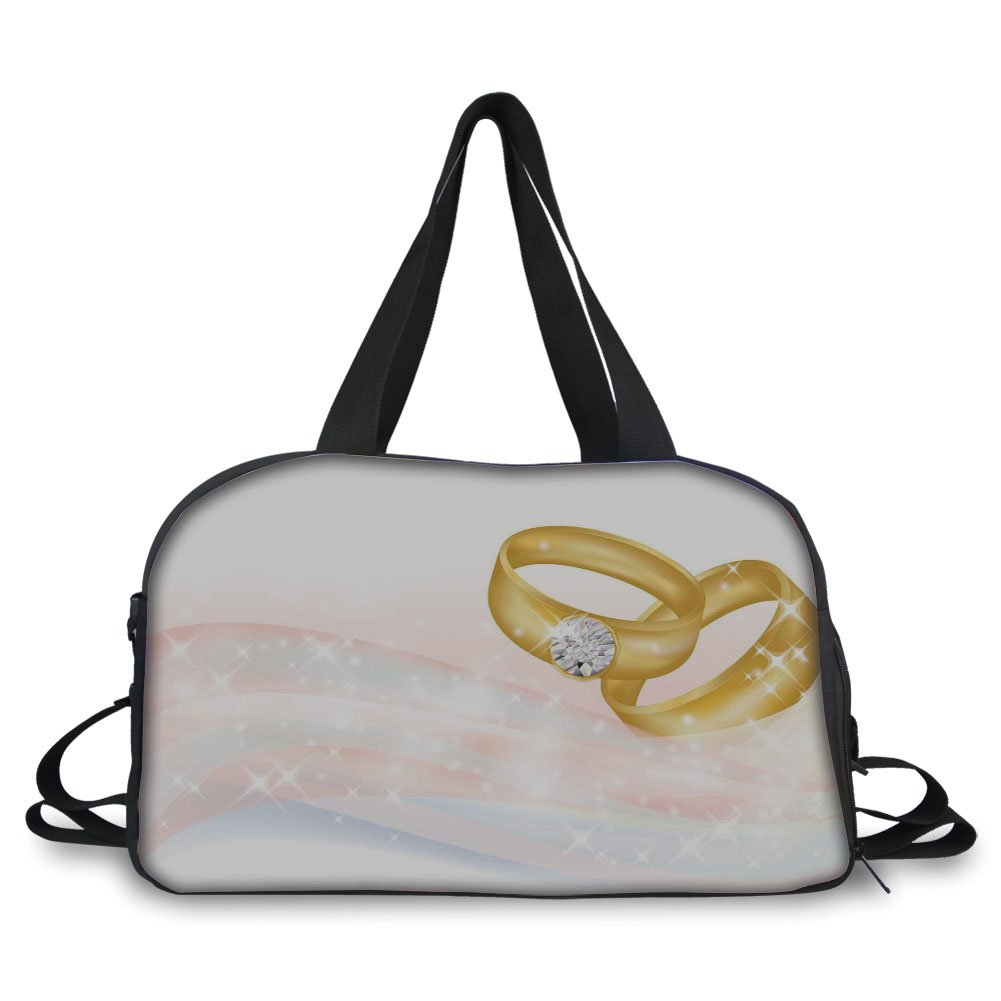 iPrint Travel handbag,Wedding,Wedding Rings on Abstract Backdrop Romance Marriage Engagement Print Decorative,Pale Pink Baby Blue Gold ,Personalized