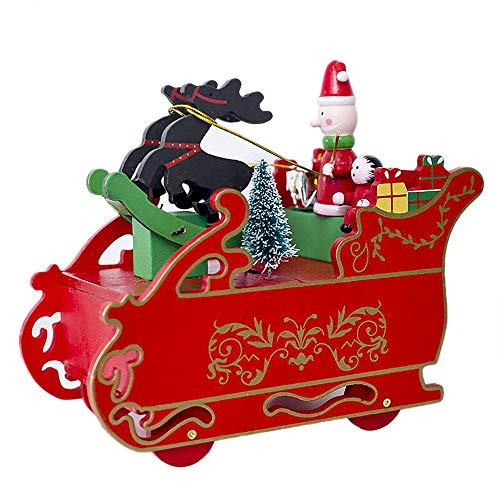 Box Tribute Wooden (Midress Christmas Ornaments Creative Christmas Wooden Music Box Gift Christmas Sleigh Desktop Decoration for Christmas Party Home Hanging Decoration (Red))
