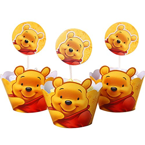 BETOP HOUSE Set of 1 Dozen Winnie the Pooh Cupcake Mufiin Wrappers Toppers Kit for Kids Themed Birthday Party Baby Shower]()