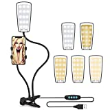 #8: Upgrade Selfie Light with Cell Phone Holder Stand for Live Stream & Makeup, Unique Technology with 3-Light Mode, 10-Level Brightness & 8-Colour Temperature, Ieleacc Lazy Bracket for iPhone &Android