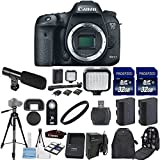 Canon EOS 7D Mark II 20.2MP CMOS Digital SLR Camera Body Only with 2pc Commander 32GB Memory Cards + LED Light + Extra Battery + Card Reader + UV Filter + Backpack Case + Tripod (14 Items)