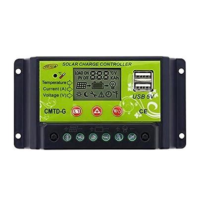 Sun YOBA 10A/20A 12V/24V LCD Solar Energy Regulator Battery Charger Controller USB 5V