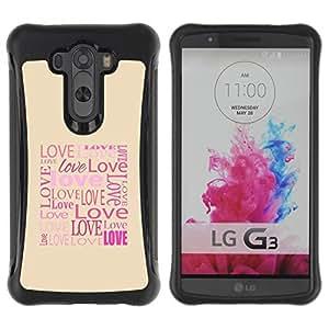 "Hypernova Defender Series TPU protection Cas Case Coque pour LG G3 / D855 / D850 / D851 [El amor de la tipografía de la caligrafía Mensaje""]"