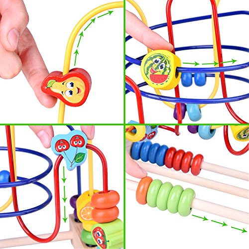 Wooden Beads Maze Roller Coaster Educational Toys for Toddler Kids Baby, Around Circle Bead Skill Improvement Wood Toys