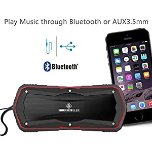 Rugged Geek GEEKBEATS JOLT5 10W X-Bass Wireless Portable Bluetooth Speaker and Charger / USB Power Bank - Red. IP65 Water and Dust Resistant with 5200mAh Samsung Battery.
