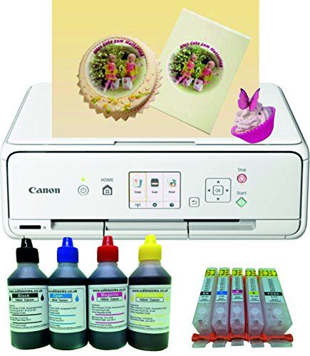 Edible Printer kit - Canon TS5051 A4 Printer with Refillable Ink Cartridges...