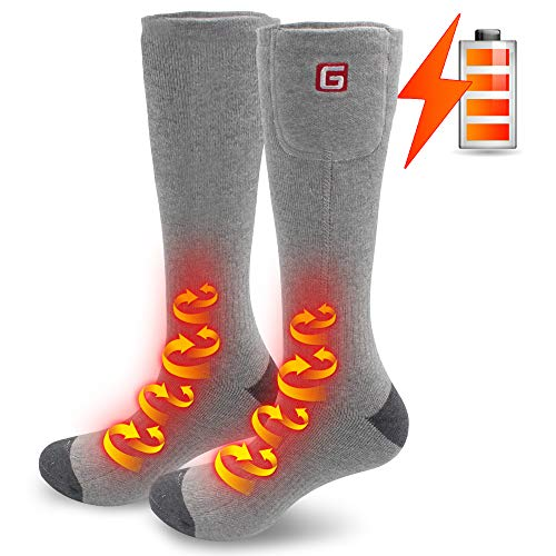 Electric Heated Socks Hiking Scoks Foot Warmers Batteries Operated for Chronically Cold Feet Ideal Christmas Gift 2.4V (Gray)