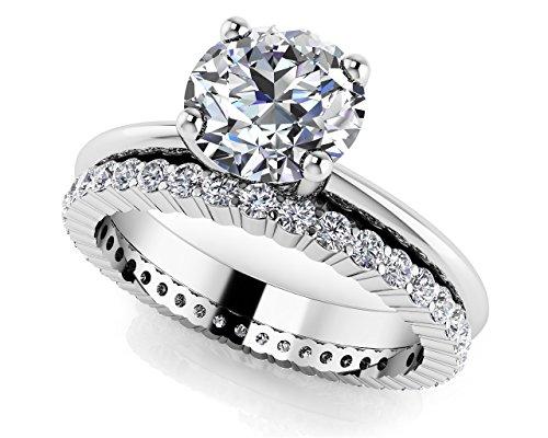 Or blanc 14K Lumière éternelle rond Solitaire de mariage Ensemble