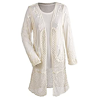 Women's Lace Duster - Crocheted Long Cardigan Sweater - White at