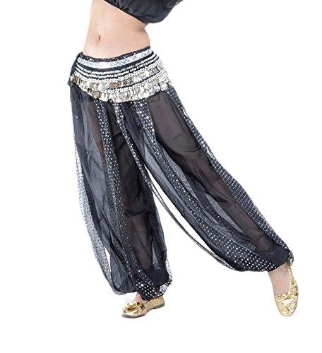 AvaCostume Belly Dance Costume Sparkling Harem Pants, Black Silver -