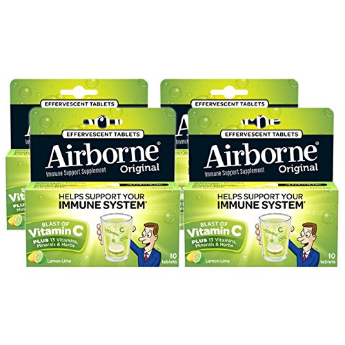 - Airborne Lemon Lime Effervescent Tablets, 10 Count - 1000mg of Vitamin C - Immune Support Supplement (Pack of 4)