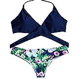 ZAFUL Women Summer Padded Push Up Halter Printed Cross Front Bikini Set Bandage Two Piece Sets Swimwear Swimsuit(L)