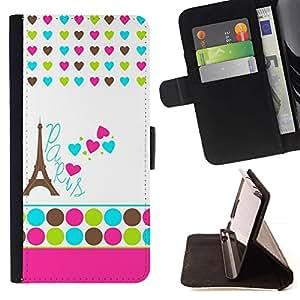 Momo Phone Case / Flip Funda de Cuero Case Cover - Lunares blancos Corazón Francia Eifel - Samsung Galaxy S6 Edge Plus / S6 Edge+ G928