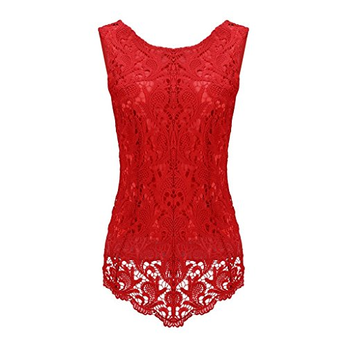 Sumtory Women's Lace Blouse Sleeveless Embroidery Tops Vest Shirt Blouse – Small, Red