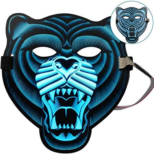 BOER INC Cosplay Mask Frightening Led Light up Mask led mask Sound Activated Mask Voice Control DJ Mask for Halloween Costumes Dance Masquerades Festival Carnival Makeup Party (Tiger) -