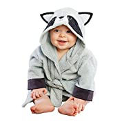 Baby Aspen Forest Friends Hooded Spa Robe, Grey/Black/White, Raccoon, 0-9 Months
