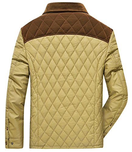 Cardigan Jacket Coat Color Down Keep Warm Middle Shirt Autumn Polyester Collar Casual Insertion Men's Fashion Wild Winter Khaki Aged Loose JJZXX Jacket Thicken w7qRPOx0