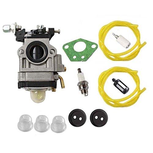 HURI Carburetor with Gasket Fuel Line Fuel Filter Primer Bulb for 300486 Earthquake MC43 MC43CE MC43E MC43ECE MC43RCE Mini (Earthquake Mini Cultivator)