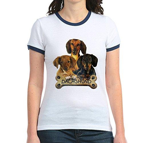 Royal Lion Jr. Ringer T-Shirt Dachshund Trio with Bone Name Plate - Navy/White, Medium