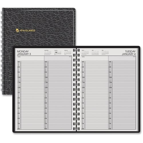 At-A-Glance 7022205 Two-Person Group Daily Appointment Book 8 x 10 7/8 Black 2018 by At-A-Glance