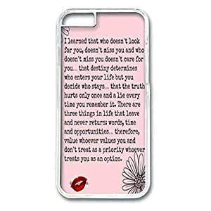 Iphone 6 Case, Iphone 6 white case easily to remove,without damaging or scratching the phone body, an Screen Protector, Scratch-Resistant Slim Clear Case, Hard PC Iphone 6 Protective Case for Ultimate Protect Iphone 6 Design with love the life you live quote by runtopwell