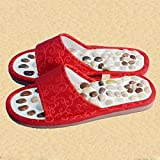 Natural Pebble Massage Shoes Health Care Massage Slippers Foot Massage Shoes , red , 40-41