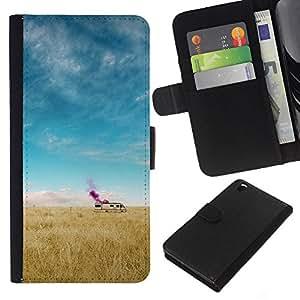 LECELL--Cuero de la tarjeta la carpeta del tirón Smartphone Slots Protección Holder For HTC DESIRE 816 -- Cama de última hora --
