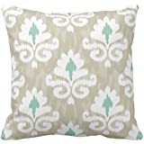 Soft Flannel Decorative Throw Pillow Covers Teal  amp; Taupe Ikat Turquoise Ethnic Boho Print Couch