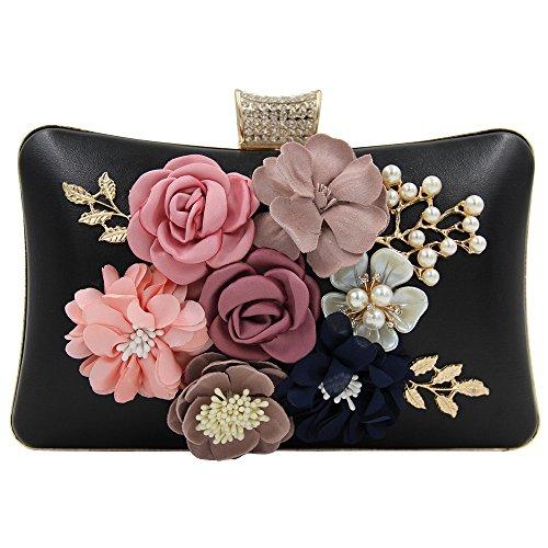 Leather Hardbox Clutch Stud Prom Women's Satin Evening Bag Missfiona Pearl Flower PU Black 2018 nqY6xwfzH