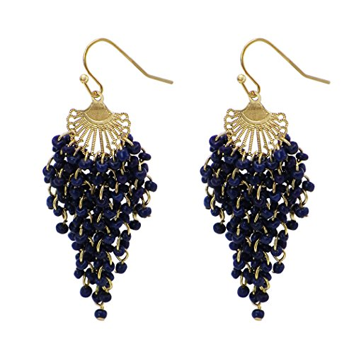 Costumes For Teachers Ideas (Rosemarie Collections Women's Fringe Dangle Earrings Navy Blue Seed Beads)