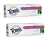 Beauty : Tom's of Maine Antiplaque and Whitening Fluoride-Free Toothpaste, Peppermint, 5.5 oz., Pack of 2